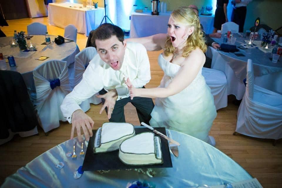 Groom eating cake