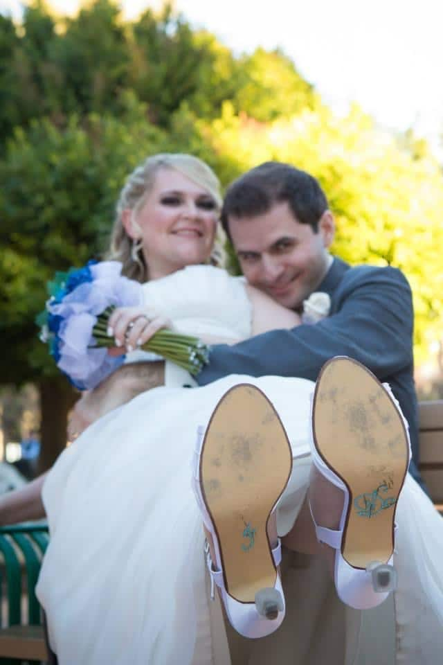 """Brides shoes with """"I DO"""" on the bottom"""