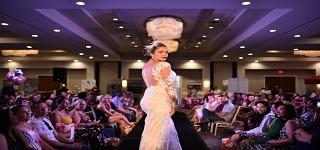 bride modeling her wedding dress