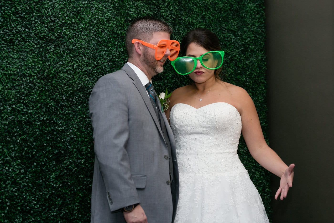Bride and Groom with funny sunglasses