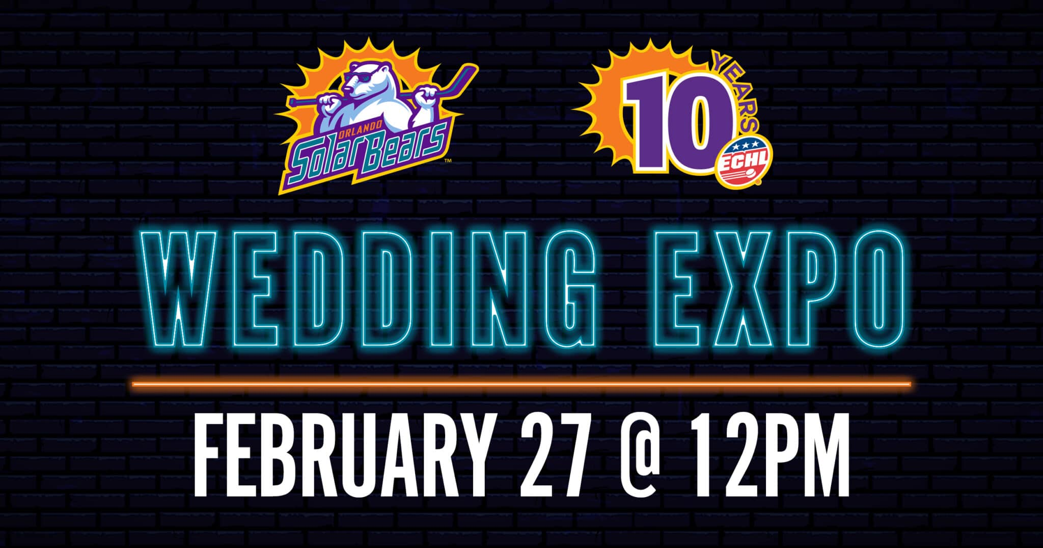 A text that reads 'Wedding Expo- February 27th @ 12pm'.