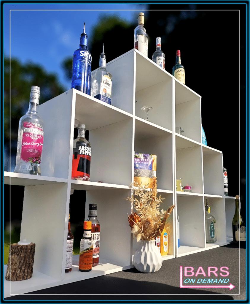 Bars on Demand bar display at wedding